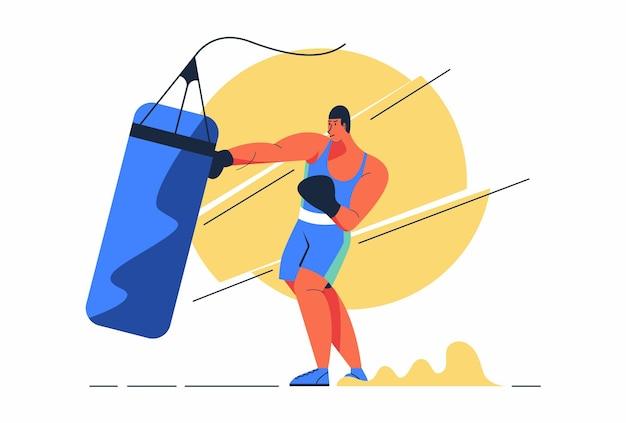 Hombre atleta boxeador está entrenando preparándose para la competencia juegos olímpicos o asiáticos