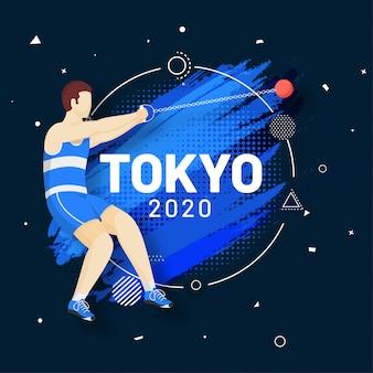Hombre atleta sin rostro realizando un lanzamiento de martillo y trazo de pincel efecto de semitono fondo azul, juegos olímpicos 2020.