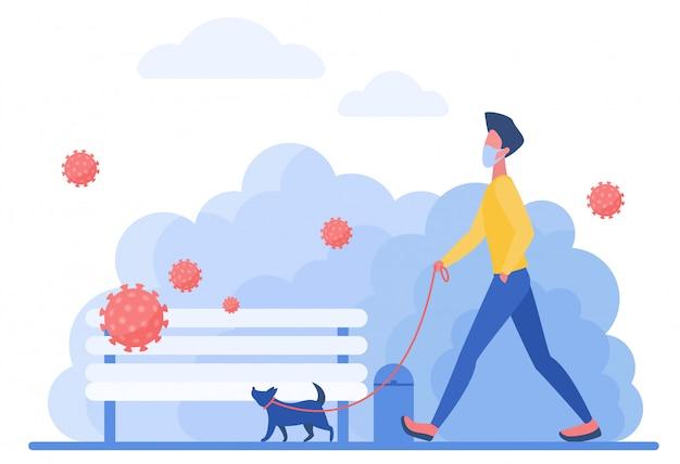 Hombre atlético en máscara médica con ilustración de concepto de personaje de perro