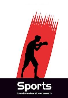 Hombre atlético practicando silueta de deporte de boxeo