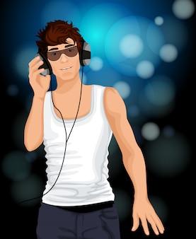 Hombre auriculares musica