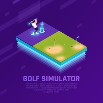 Hombre en auriculares vr durante el entrenamiento en simulador de golf composición isométrica en púrpura