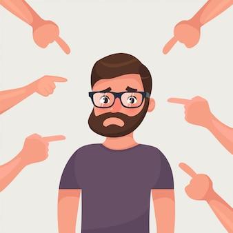Hombre avergonzado rodeado de manos que lo señalan con los dedos.