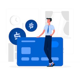 Hombre azul con tarjeta de crédito estilo plano.