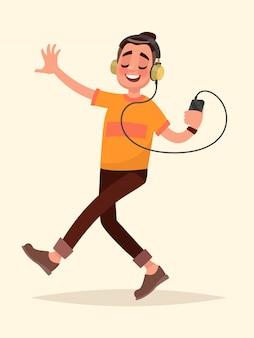 Hombre bailando escuchando música en su teléfono a través de auriculares. ilustración de vector en estilo de dibujos animados