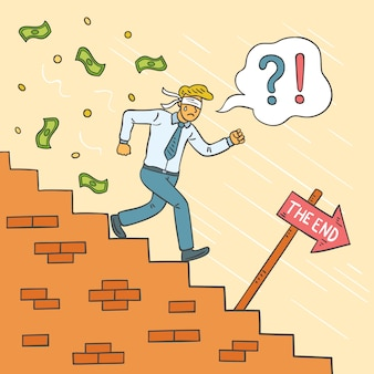 Hombre de bancarrota dibujado a mano corriendo por las escaleras