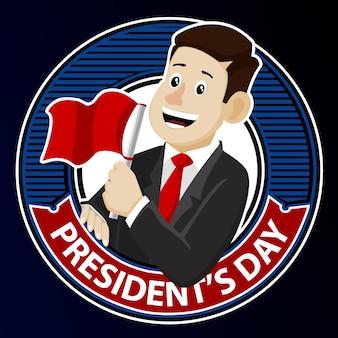 Hombre con bandera roja para el vector de insignia del día del presidente