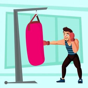 Hombre con barba do punch bag entrenamiento ilustración