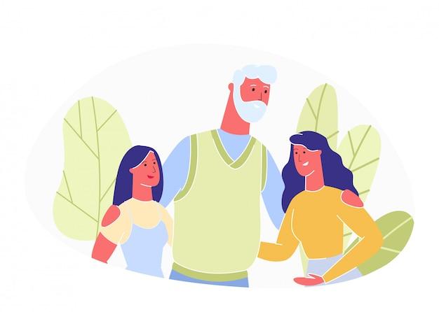 Hombre con barba gris y cabello abrazos dos mujeres jóvenes.