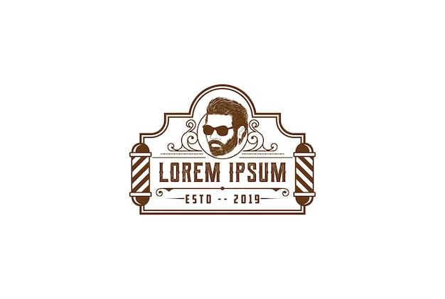 Hombre de barba retro vintage hombre o caballero masculino para el vector de diseño de logotipo de corte de pelo de barbería