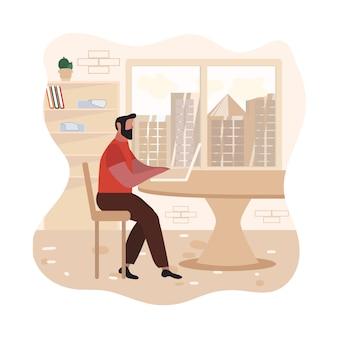Hombre barbudo adulto escribiendo en la ilustración del ordenador portátil