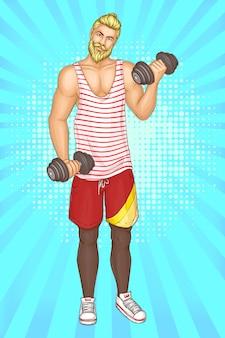 Hombre barbudo haciendo ejercicios de fitness con mancuernas