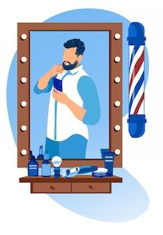 Hombre barbudo haciendo selfie en espejo en la barbería