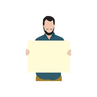 Hombre barbudo ilustrado sosteniendo papel en blanco