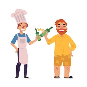Hombre barbudo y joven chef bebiendo oso, tostado