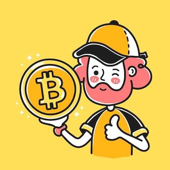 Hombre barbudo joven muestra signo de moneda bitcoin en la mano