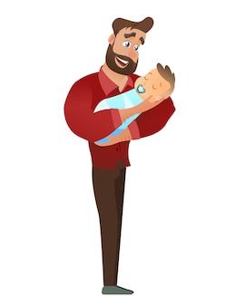 Hombre barbudo joven que detiene al bebé recién nacido