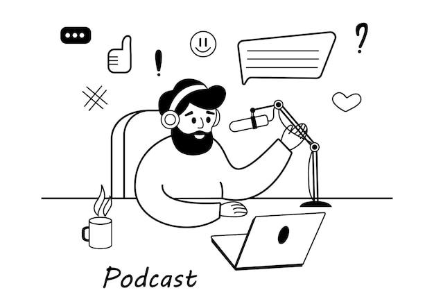 Un hombre barbudo lidera una transmisión de podcast en vivo de una ilustración vectorial plana