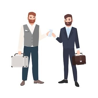 Hombre barbudo pasando sobre a su socio comercial o colega aislado sobre fondo blanco. dos hombres de negocios haciendo trato. soborno y corrupción. ilustración en estilo moderno de dibujos animados plana.