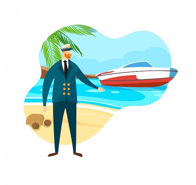 Hombre barbudo valiente en el mar capitán traje y gorra.