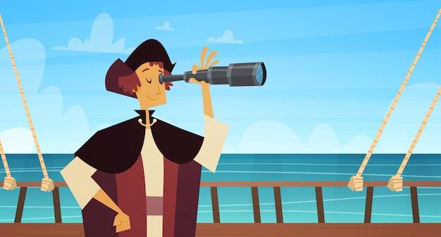 Hombre en el barco con el concepto nacional del día de fiesta de los eeuu del día de columbus feliz de spyglass