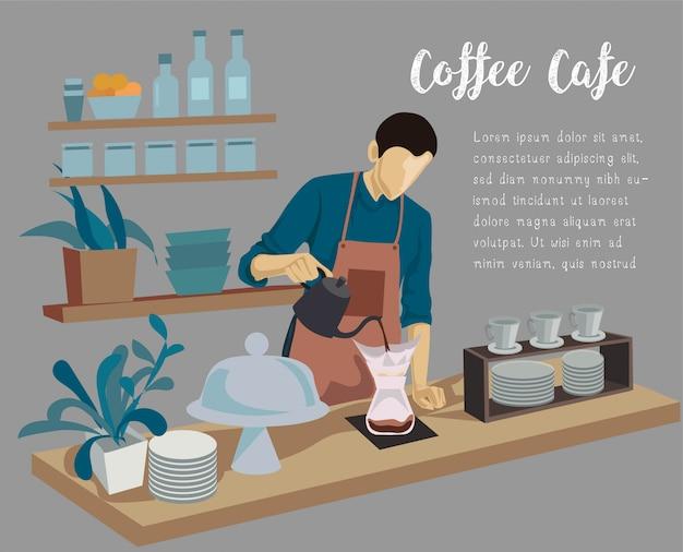 Hombre de barista que hace café en el mostrador de café