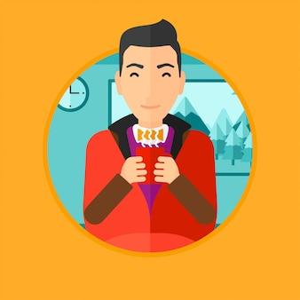 Hombre bebiendo café o té.