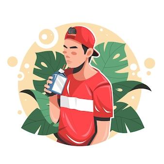 Hombre bebiendo una ilustración de vector plano de leche
