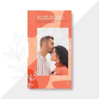 Hombre besando a su esposa plantilla de banner