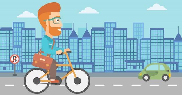 El hombre va en bicicleta al trabajo.