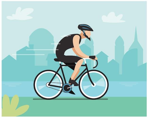 Hombre en bicicleta en la ciudad de fondo. vectores que te motiven a hacer del ciclismo un hobby y un buen hábito y como una colección de tus vectores deportivos.