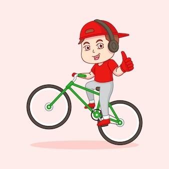 El hombre va en bicicleta y da los pulgares hacia arriba