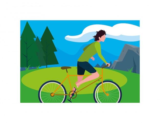 Hombre con bicicleta, hombre con estilo de vida saludable