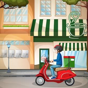 Hombre en bicicleta o mensajero en la ciudad.