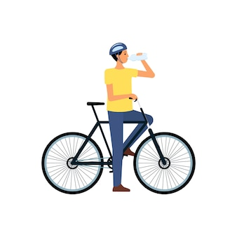 Hombre en bicicleta de pie y bebiendo agua de botella plana estilo de dibujos animados, ilustración vectorial aislado. sediento ciclista masculino en casco ha dejado de andar en bicicleta para beber agua