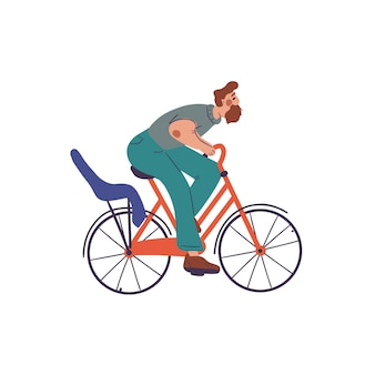 Hombre en bicicleta roja con asiento de bicicleta para niños