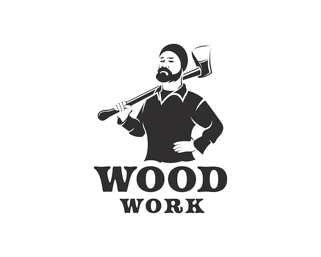 Hombre con bigote con logo de silueta de hacha. plantilla de diseño de logotipo de carpintería o leñador