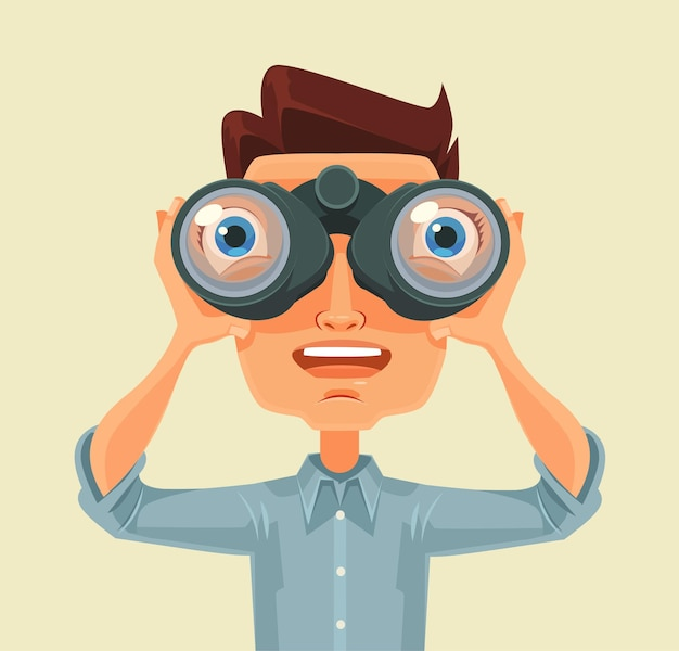 Hombre con binoculares. ilustración de dibujos animados plana