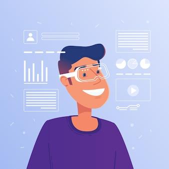 Hombre blanco caucásico feliz en gafas de realidad aumentada funcionamiento interfaz virtual hud.