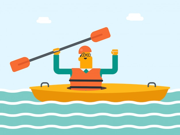 Hombre blanco caucásico joven que monta un kayak.