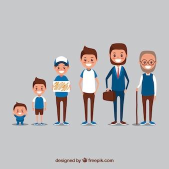 Hombre blanco en distintas edades con diseño plano