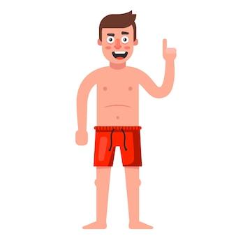 Hombre blanco en pantalones cortos rojos. ilustración de personaje sobre fondo blanco.