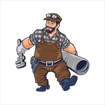 Hombre de bombeo de dibujos animados