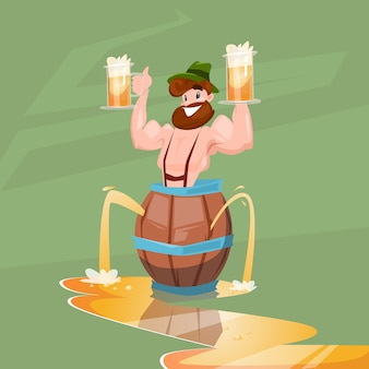 Hombre borracho patric con jarra de cerveza banner del festival oktoberfest