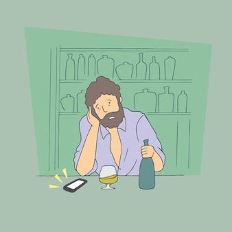 Hombre borracho. vector de estilo dibujado a mano ilustraciones de diseño doodle.