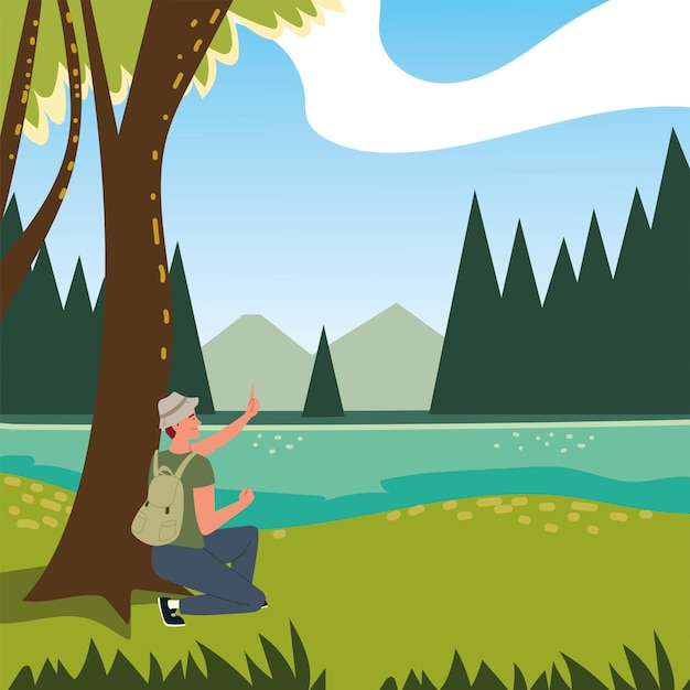 Hombre bosque árboles río y montañas