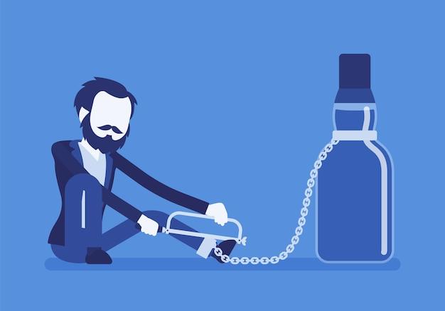 Hombre con botella en dependencia del alcohol