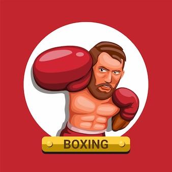 Hombre de boxeo punch en deporte de atleta de carácter guante rojo