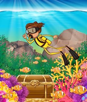 Hombre buceando bajo el mar