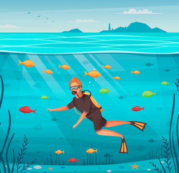 Hombre de buceo rodeado de dibujos animados de peces de colores